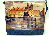 Женская джинсовая стеганная сумочка Площадь, фото 1