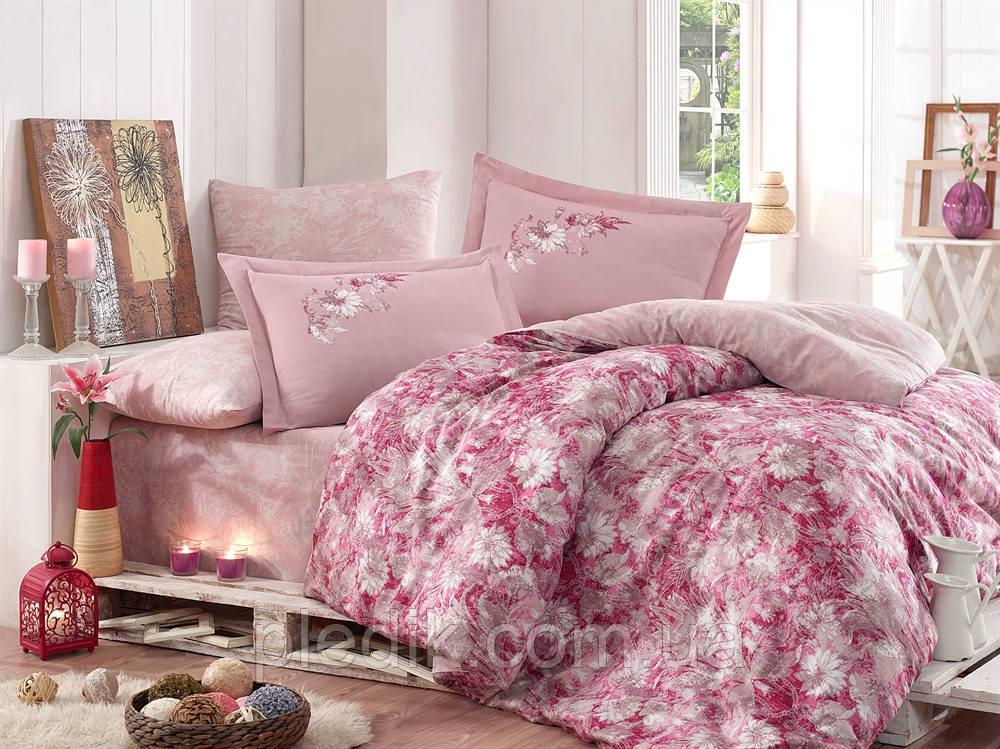 Комплект постельного белья 200х220 HOBBY Exclusive Sateen Romina розовый