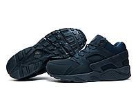 Зимние мужские кроссовки Найк Air Huarache, на меху, темно-синий, р. 41 42 43 44 45