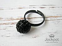 Черное женское кольцо со стразами свободный размер
