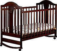 Детская кроватка «НАПОЛЕОН NEW» без ящика, колесо-качалка цвет: орех