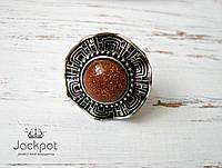 Женское кольцо с авантюрином натуральный камень свободный размер