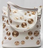 Женская роскошная белая сумка на два отделения