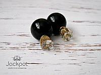 Черные серьги пусеты в стиле Диор Dior с кристаллами