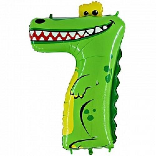 "Шар цифра ""Крокодил - 7"". Размер: 29см*47см."