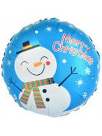 """Шар воздушный фольгированный  Новогодний """" Снеговик """" диаметр 45 см."""