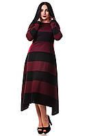Платье в пол Пчелка ZANNA BREND 304  черное с бордовыми полосками