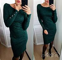 Теплое платье миди с пуговицами. Темно-зелёный