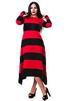 Платье ZANNA BREND 304 S (44) длинное в полоску черный\красный