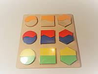 Деревянная  игрушка досточка для развития Геометрик Половинки