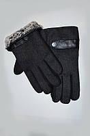 Зимние мужские перчатки, комбинированные кашемир и драп, утеплённые на меху