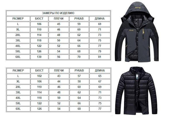 fe6cd8f94fde 3 в 1 Ветро-Влагозащитная тёплая зимняя куртка+пуховик парка большие ...