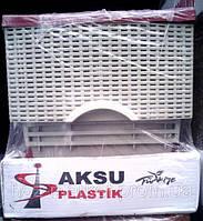 Комод пластиковый Ротанг бордовый с серым 4 отделения закрытые боковые панели Турция