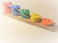 Деревянная игрушка Пирамидка счёт от 1 до 5