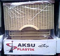 Комод пластиковый Ротанг бежево коричневый 4 отделения закрытые боковые панели Турция