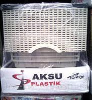 Комод пластиковый Ротанг серый с черным 4 отделения закрытые боковые панели Турция