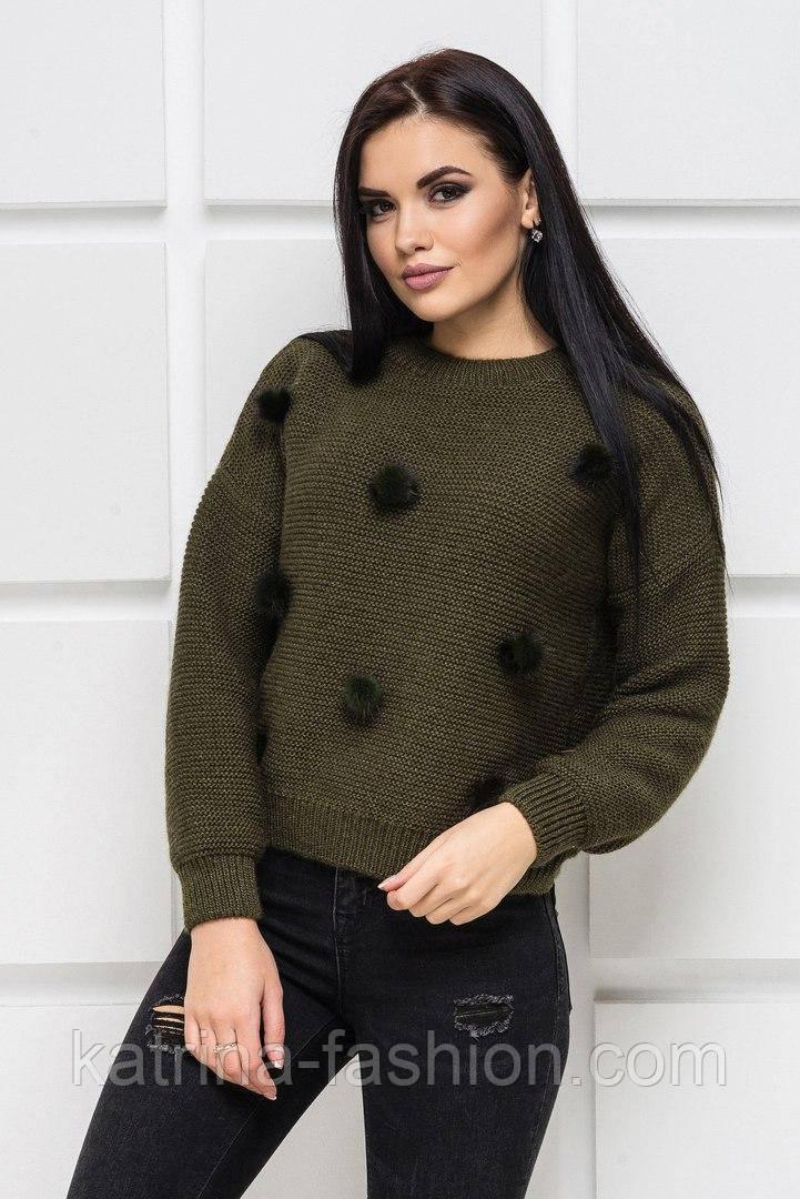 Жіночий модний светр з хутряними помпонами (10 кольорів)