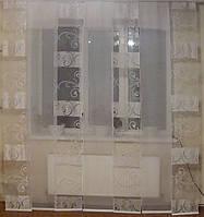 Комплект панельных шторок белый вензель полоса, 7шт