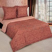 Двуспальное постельное белье с простыней на резинке 160/200/34, Византия коричневый, поплин 100%хлопок