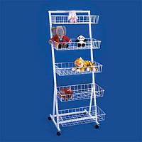 Стойка торговая с навесными корзинами для игрушек и других товаров