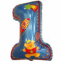 "Шар цифра большая ""My 1st Birthday"". Цвет: Голубой. Размер: 65см*44см."