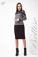 Элегантная женская блуза из трикотажа с гипюром