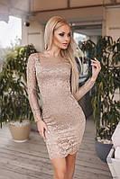 Кружевное приталенное платье 5 цветов код мнр 1048