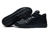 Зимние мужские кроссовки Найк Air Force winter, на меху, черные р. 42 44 45