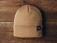 Шапка мужская зимняя вязаная STF KS0032-2 коричневая (модные молодежные, зимние, подростковые шапки)