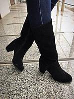 Зимние женские сапоги на устойчивом каблуке