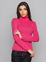 Женская вязаная розовая водолазка р.44-50