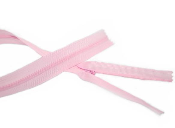 Молния потайная 50см розовая (спираль, тип-3), фото 2