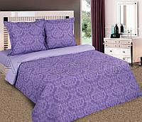 Постельное белье Евро с простыней на резинке 180/200/34, Византия фиолет, поплин 100%хлопок