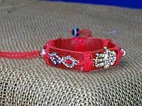 Красный кожаный браслет на руку с турецким глазом от сглаза, подарок для девушки.