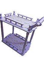 Столик сервировочный сиреневый (массив дерева) (70х64х40 см)