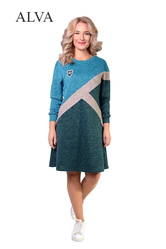 """Необычное платье  с асимметричным рисунком из """"ангора-меланж"""".Разные цвета."""