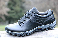 Полуботинки, кроссовки мужские популярные практичная модель натуральная кожа черные (Код: М966)
