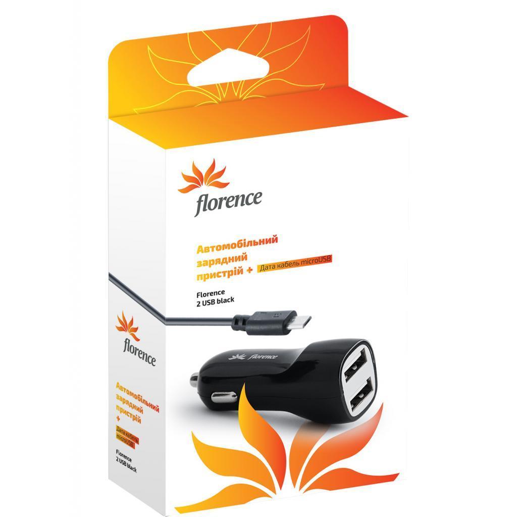 Зарядное устройство Florence 2*USB, 2.1A + cable micro USB (CC21-MU)