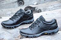 Полуботинки, кроссовки мужские популярные практичная модель натуральная кожа черные (Код: М966а)
