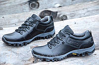 Полуботинки, кроссовки мужские популярные практичная модель натуральная кожа черные (Код: Б966а)