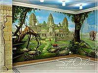 """Роспись стен  в детской игровой комнате """"Джунгли"""""""