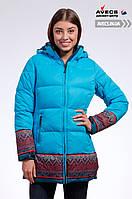 Женская зимняя куртка Avecs 7739683 Blue выше колена наполнитель тинсулейт недорого | Avecs куртка размер