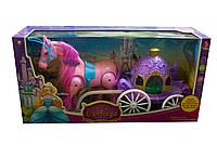 Каретас лошадкой для кукол 686-713 ходит, музыкальнаяв коробке41*12*21 см