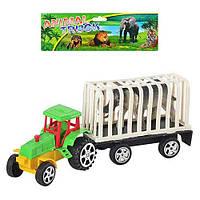 Трактор A 9001 (216шт) инер-й, с прицепом, 22см, животное, в кульке, 25-17-6см