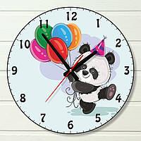 """Часы в детскую - """"Панда с воздушными шарами"""" (на пластике)"""