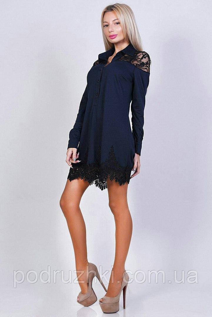 Женское трикотажное платье-рубашка с кружевом (4 расцветки)  продажа ... 11966bbb685