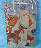 Пакет крафт картон Дед Мороз в пути 373*240*100 мм
