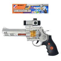 Пистолет 06917 (144шт) 22-17см,звук стрельбы,подсветка дула и барабана,на бат-ке,в кульке,17-31-3см