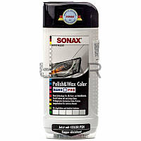 Sonax 296000 Polish&Wax Color Белая цветная полироль с воском + карандаш, 500 мл