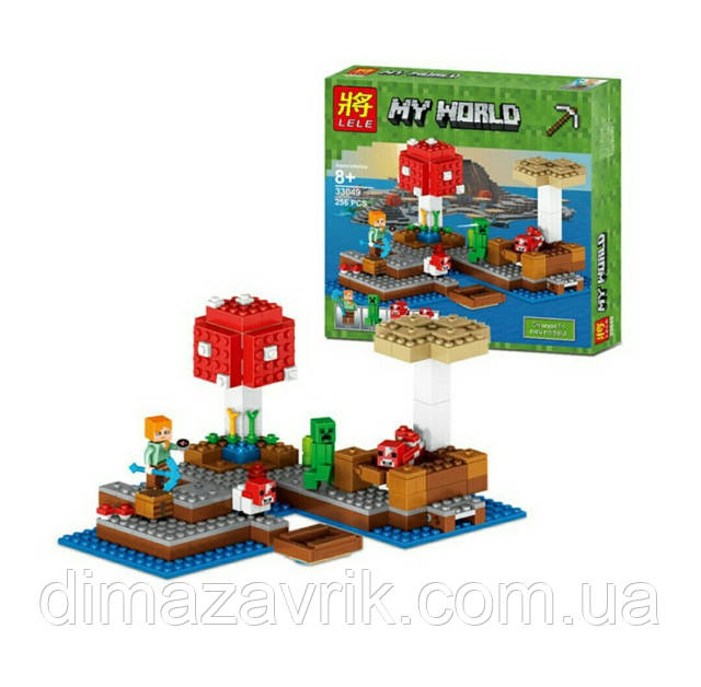 """Конструктор Lele 33049 """"Грибной остров"""" (Аналог Lego Minecraft 21129 ..."""